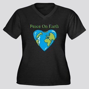 Peace On Earth Women's Plus Size V-Neck Dark T-Shi