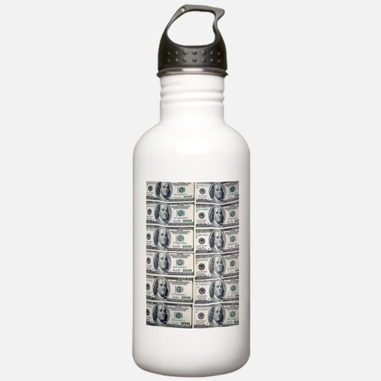 $100 dollar bills mone Sports Water Bottle