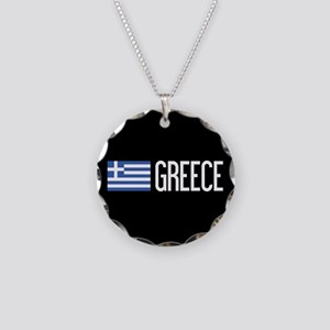 Greece: Greek Flag & Greece Necklace Circle Charm