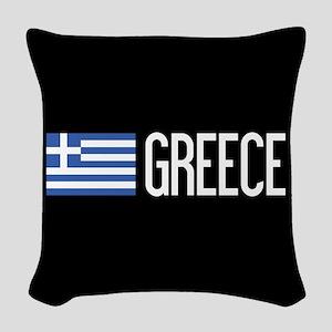 Greece: Greek Flag & Greece Woven Throw Pillow