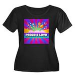 Psychedelic Peace & Love Women's Plus Size Scoop N
