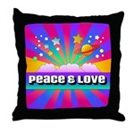 Psychedelic Peace & Love Throw Pillow