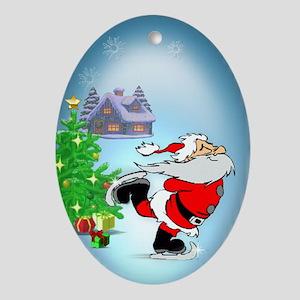 Santa Skating Oval Ornament