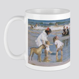 'Children and Boxer at Seashore' Mug