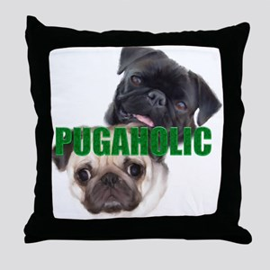 Pugaholics - Large Throw Pillow
