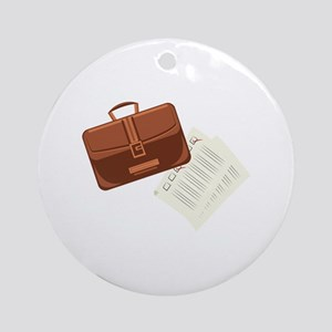 Briefcase & Papers Round Ornament
