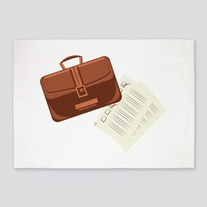 Briefcase & Papers 5'x7'Area Rug