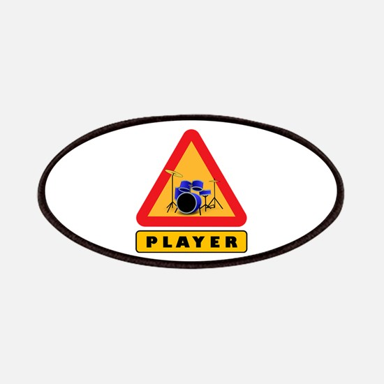Drumset Player Caution Sign Patch