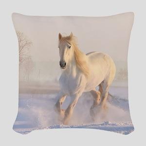 white horse h678 Woven Throw Pillow