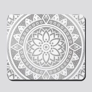 Silver & White Patterned Flower Mandala Mousepad