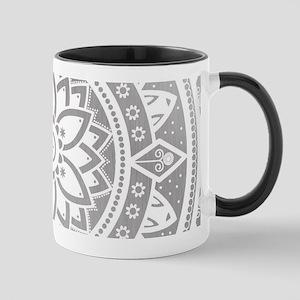Silver & White Patterned Flower Mandala Mugs