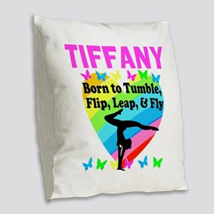 BEST GYMNAST Burlap Throw Pillow