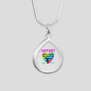 BEST GYMNAST Silver Teardrop Necklace