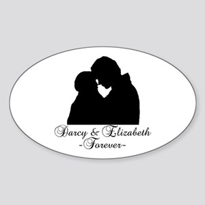 Darcy & Elizabeth Forever Silhouette Sticker (Oval