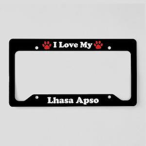 I Love My Lhasa Apso Dog License Plate Holder