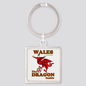 Wales football the dragon inside Keychains