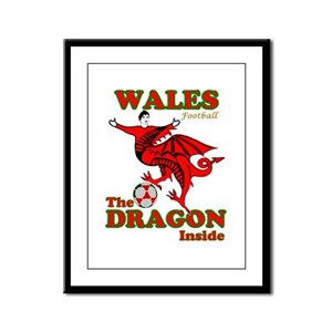 Wales football the dragon inside Framed Panel Prin
