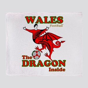 Wales football the dragon inside Throw Blanket