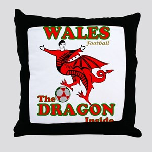 Wales football the dragon inside Throw Pillow