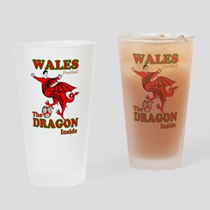 Wales football the dragon inside Drinking Glass