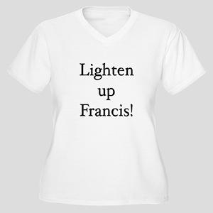 Lighten up Francis Women's Plus Size V-Neck T-Shir
