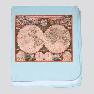 Vintage World Map (1665) 2 baby blanket