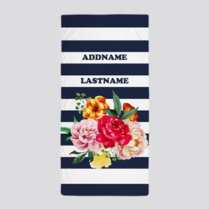 Roses Floral Watercolor Stripes Person Beach Towel