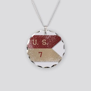 7th Cavalry Flag Necklace Circle Charm