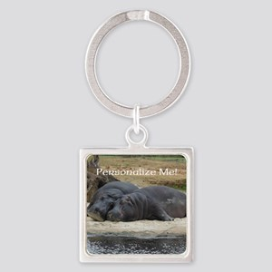 Hippos in Love Personalized Photo Keychains