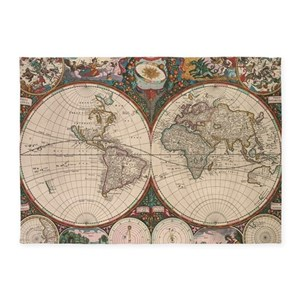 Antique World Map Area Rugs CafePress - Old world map rug
