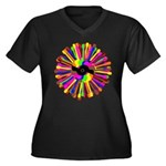 Tumini Notes Women's Plus Size V-Neck Dark T-Shirt