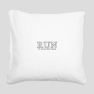 RunWhite Square Canvas Pillow