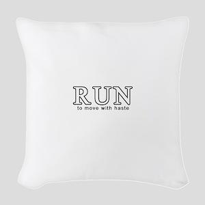 RunWhite Woven Throw Pillow