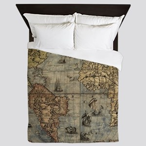 Vintage Map of The World (1565) Queen Duvet