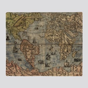 Vintage Map of The World (1565) Throw Blanket