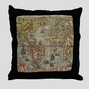 Vintage Map of The World (1565) Throw Pillow