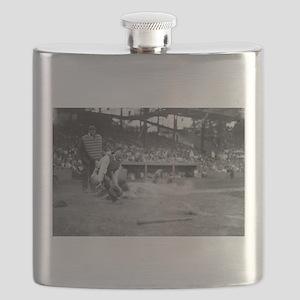 Lou Gehrig Sliding into Home Plate Flask