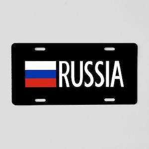 Russia: Russian Flag & Russ Aluminum License Plate