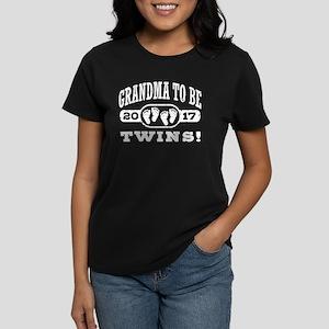 Grandma To Be Twins 2017 Women's Dark T-Shirt