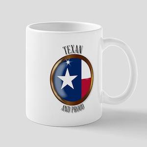 Texas Proud Flag Button Mugs