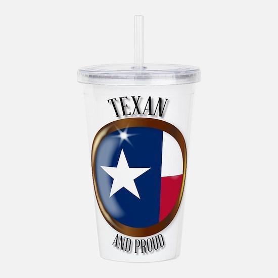 Texas Proud Flag Butto Acrylic Double-wall Tumbler