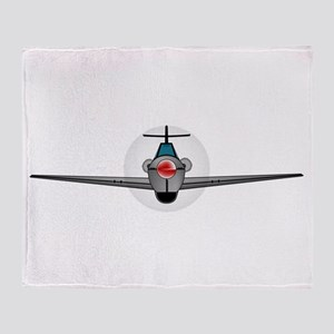 Old Style Fighter Aircraft Throw Blanket