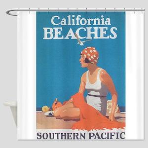 California Beaches Vintage Travel Poster Shower Cu