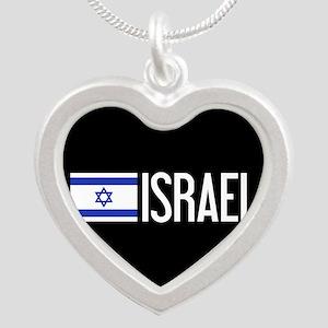 Israel: Israeli Flag & Israe Silver Heart Necklace