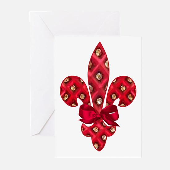Red Holiday Fleur de lis Greeting Cards (Pk of 10)