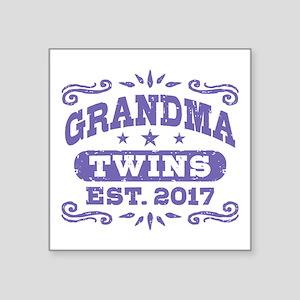 "Grandma Twins Est. 2017 Square Sticker 3"" x 3"""