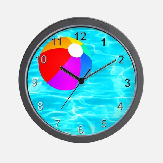 Beach Ball in Pool Wall Clock