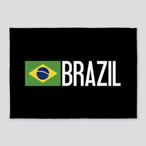 Brazil: Brazilian Flag & Brazil 5'x7'Area Rug