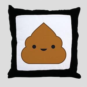 Kawaii Poop Throw Pillow