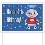 Retro Robot 4th Birthday Yard Sign